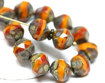 Yellow Brown czech glass beads Picasso finish 9mm Organic round cut fire polished beads Baroque ball beads - 10Pc - 0889