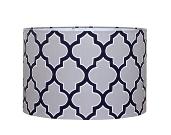 Geometric Lamp Shade - Drum Lampshade in Blue and Grey - Modern Office Decor - Man Cave - Table Lamp Shade