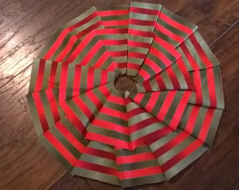 SALE 50% OFF - Ruffled Red / Green Striped Miniature Christmas Tree Skirt