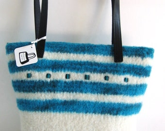 Turquoise and White Glass Beaded Purse Wool Hand Knitted Felted Custom Lined