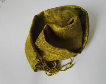 Green Hand loomed raw silk scarf