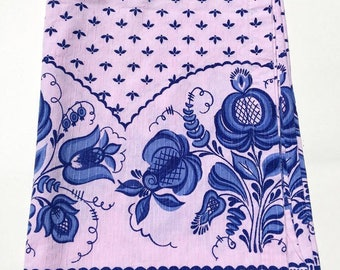 Linen Tablecloth- Russian Gzhel Pink and Blue Floral Tablecloth Vintage Picnic Blanket