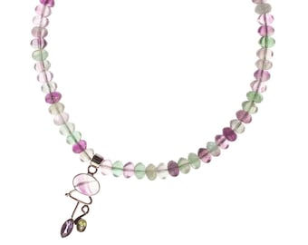 Fluorite and Sterling Necklace with Faceted Peridot and Amethyst Pendant - Glowing - Free US shipping