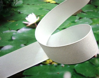 "25 yards 7/8"" ( 23 mm ) White gross grain ribbon trim ( MADE IN U.S.A )"