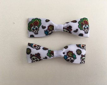 Mini Super Cute Day of the Dead Skulls Hair Clips