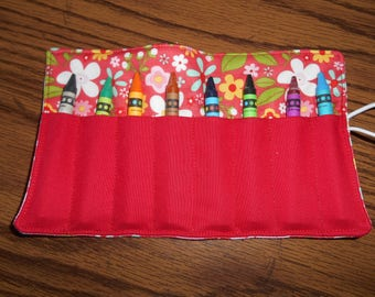 Red flower crayon roll up 8 count either regular crayons or jumbo crayon
