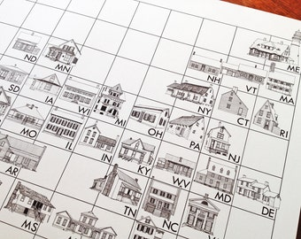 AMERICAN HOMETABLE Architecture Map Drawing (16x20 Art Print) Periodic Table of Vernacular Domestic House Architecture United States America