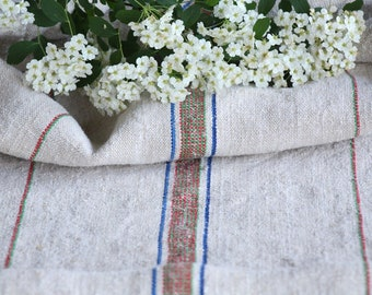 FP 552: antique handloomed, COLORFUL, 49.61 inches long, upholstery project, old linen fabric, vintage linen, do it yourself