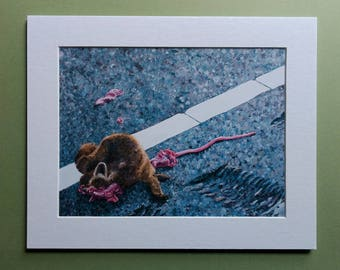 """Fine Art Print """"Still Life with Raccoon II"""" 6x8 matted to 8x10"""