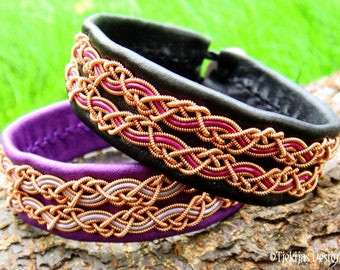 Sami Viking Bracelet for Guys and Girls MUNINN Copper and Leather Cuff Custom Handmade in Your Size and in 30 different Colors