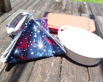 Casserole Carrier - Fourth of July - 4th of July - Pot Luck - Square - Rectangle - Circle - Oval - 9x13 - 12x12 - Summer - Picnic - Firework