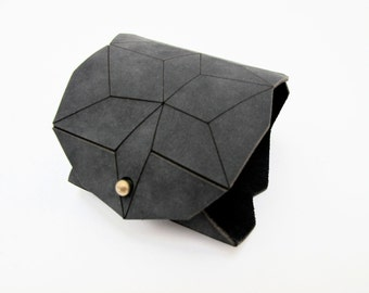 geometric leather bracelet, charcoal lasercut cuff