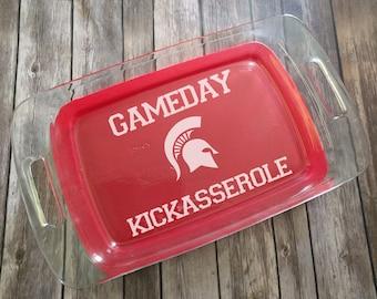 Michigan State Gameday Kickasserole Engraved Pyrex Baking Dish