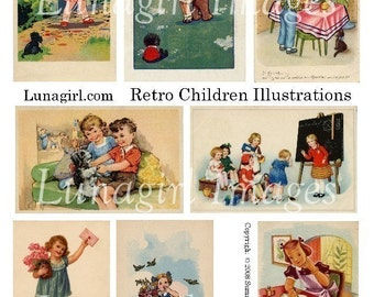 RETRO CHILDREN digital collage sheet, DOWNLOAD vintage images, 1930s 1940s 1950s books illustrations, mid-century kids, altered art ephemera
