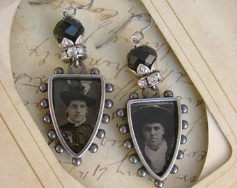 Sisters - Antique 1870s Tintype Photographs Hobnail Bezels Rhinestones Black Beads Niobium Wires Recycled Repurposed Assemblage Earrings