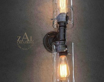 Wall Light. Vertical Sconce. Wine bottles. Plumbing pipe and fittings.