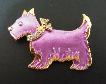 Adorable Pink Rhinestone Scottie dog pin