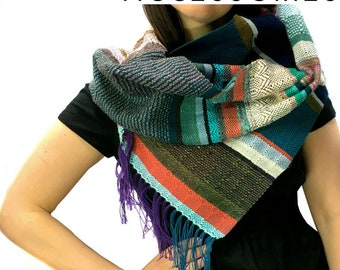 Jaime | Handwoven Striped Scarf in Peacock + Olive | Heirloom Modern Woven Scarf | Colorful Loom Accessory | pidgepidge Ladies Fashion | J8