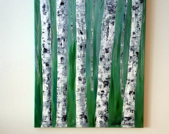 "BIRCH TREE PAINTING- White Birch Trees, Original Acrylic Abstract Painting, 16"" x 20"" Wrapped Canvas, Teal Green, Nature Wall Art"