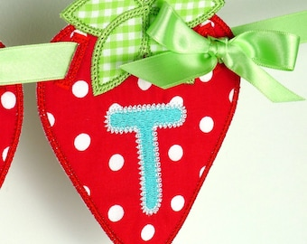 "Strawberry Banner In The Hoop Project Machine Embroidery Designs Applique Patterns in 5 sizes 4"", 5"", 6"", 7"" and 8"""