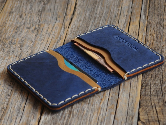PERSONALIZED Blue Leather Wallet. Credit Card Holder. Pockets for Cash or ID. Rustic Style, Unisex Pouch. Monogram your name! Perfect Gift!