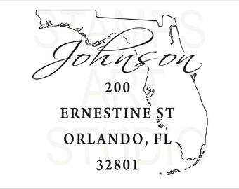Florida, Square Stamp, Self Inking Address Stamp, Address Stamp, Custom Address Stamp, Return Address Stamp, Housewarming Gift - FL
