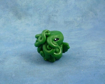 Green Cthulhu Figure, Original Horror Sculpture Inspired by H.P. Lovecraft