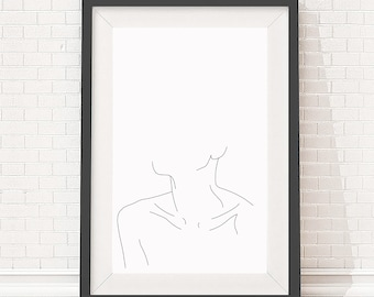 A4 Giclee print - Minimal line drawing of woman's neckline and collar bones - Minimal art - Figurative line drawing