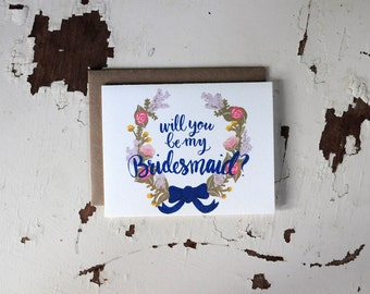 Will You Be My Bridesmaid Card - Floral Wreath