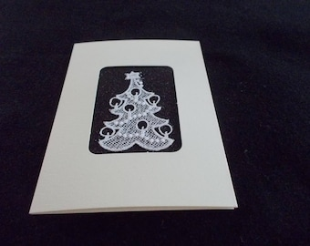 Xmas Trees of Belgian Lace in a blank card