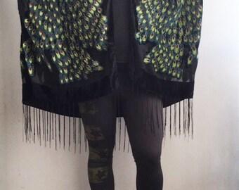Kimono  Bird - Gypsy burnout Velvet  Kimono Women Boho Fringe Floral Kimono Cardigan Tassels Cover Up Velvet Kimono