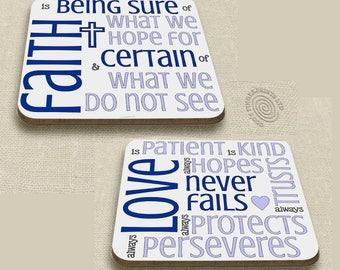 Christian coasters - faith & love - encouraging Bible verses