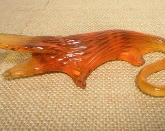 Vintage Figurine, Alligator, Glass, Amber, Blown Glass, Alligator, Orange, Brown,  Collectibles, Small
