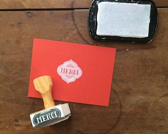 Merci Stamp - Thank You - Wedding or Party Favor Stamp - Gift Tag - Stationery Stamp - Rubber Stamp - Moroccan