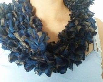 WOMAN WOOL RIBBON VARIATION BLUE SNOOD (SCARF)