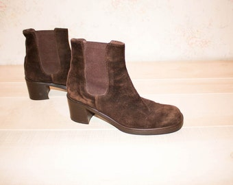 Vintage 90s Chelsea Boots, 1990s Suede Leather Boots, Brown, Block Heel, Platform, Made in Italy