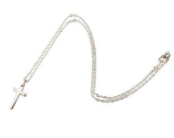 Silver Cross Necklace. Silver Cross Pendant. Silver Cross Charm. Tarnish Resistant Silver Cross