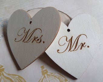 Set of 2 Mr and Mrs wooden hearts