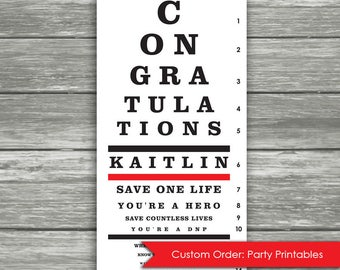 Personalized PhD Doctor Nurse Party Poster Sign - vision chart eye test vision test - graduation party - Instant downloads, DIY, Printable