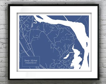 Blueprint map etsy deep river connecticut blueprint map poster art print several sizes available malvernweather Image collections