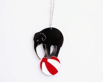 Elephant on a Ball Necklace. Circus Necklace. Circus Elephant Necklace. Circus Costume. Statement Necklace. Silver Acrylic Circus Pendant