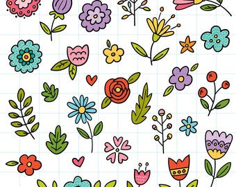 Doodle flowers clipart - Hand drawn instant download PNG graphics  - 0007