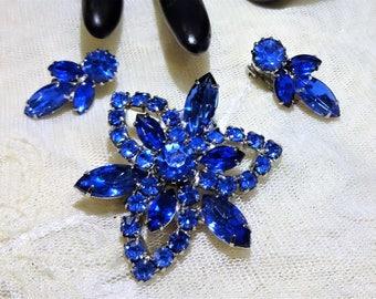 Vintage Royal Blue Rhinestone Brooch and Earrings