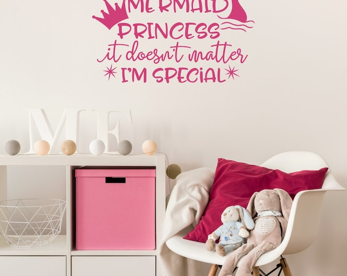 Unicorn Mermaid Princess Decal / Unicorn Decal / Mermaid Decal / Princess Decal / Girls Room Decor / Girls Room Wall Decal /Girls Wall Decal