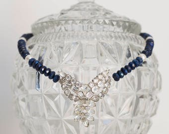 SALE - Lapis Lazuli & White Freshwater Pearl Necklace with Rhinestone Brooch Pendant