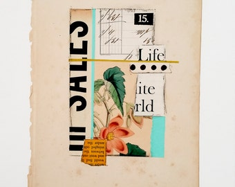 Original paper collage, mixed media collage, vintage paper collage