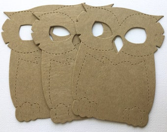 LARGE OWL - Chipboard Die Cuts - Hootie Owl Bare Kraft Embellishments