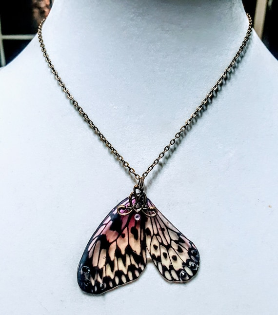 Large Spotted Butterfly Wings - Necklace