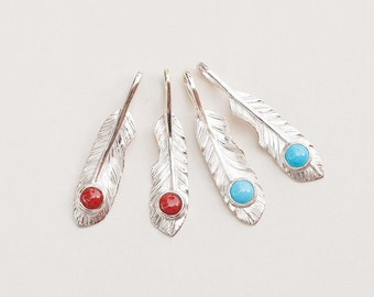 Silver Feather Pendant   Native American Inspired   Small Feather Charm   Boho Silver Pendant   Turquoise   Red Coral   925 Sterling Silver