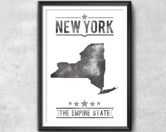 NEW YORK State Typography Print, Typography Poster, New York Poster, New York Art, New York Gift, New York Decor, New York Print, New York